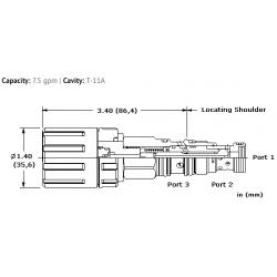DWDMLAN 3-way, manually-operated, directional poppet valve