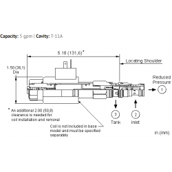 PRDNXDN Electro-proportional, direct-acting, pressure reducing/relieving valve, high pressure setting with no command