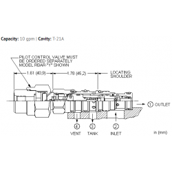 HVCA8DN Ventable, pilot operated, balanced piston relief main stage with integral T-8A control cavity - before check