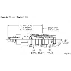 DKFPLAN Normally closed, balanced poppet, logic element - pressure adjustable
