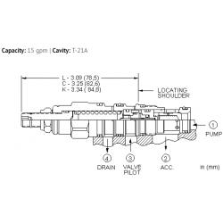 QCDALAN 15%, accumulator sense, pump unload valve with check - pilot capacity