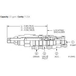 QCDBLAN 20%, accumulator sense, pump unload valve with check - pilot capacity