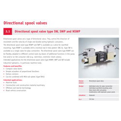 Directional spool valve type SW, SWP and NSWP