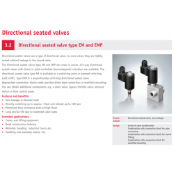 Directional seated valve type EM and EMP