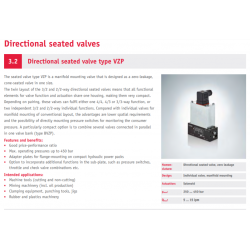 Directional seated valve type VZP