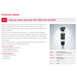 Pressure control valve type CMV, CMVZ, CSV and CSVZ