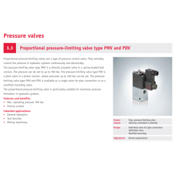 Proportional pressure-limiting valve type PMV and PDV