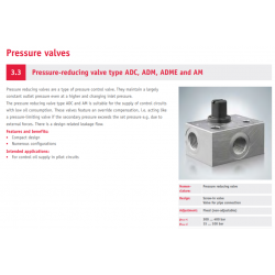 Pressure-reducing valve type ADC, ADM, ADME and AM