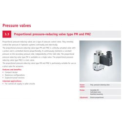 Proportional pressure-reducing valve type PM and PMZ