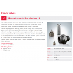 Line rupture protection valve type LB