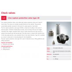 Line rupture protection valve type LB
