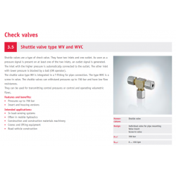Shuttle valve type WV and WVC