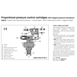 Proportional pressure control cartridges with integral pressure transducer LIMZO-R