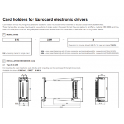 Card holders for Eurocard electronic drivers E-K-32M, E-K-64M