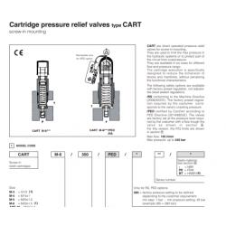 Cartridge pressure relief valves type CART ARAM