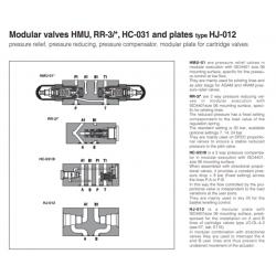 Modular valves HMU, RR-3/*, HC-031, and plates type HJ-012 HC-031-8