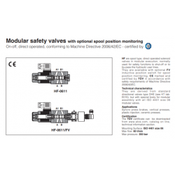 Modular safety valves with optional spool position monitoring HF, HF-FV