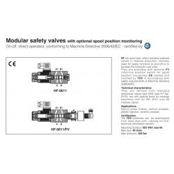 Modular safety valves with optional spool position monitoring HF, HF-FV