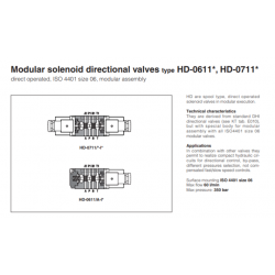 Modular solenoid directional valves type HD-0611*, HD-0711* HD