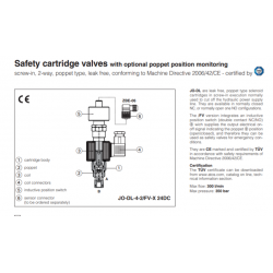 Safety cartridge valves with optional poppet position monitoring JO-DL-FV