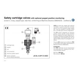 Safety cartridge valves with optional poppet position monitoring JO-DL-FV