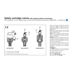 Safety cartridge valves with poppet position monitoring LIDA-FV, LIDAS-FV