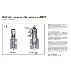 Cartridge peressure relief valves type CART