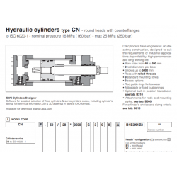 Hydraulic cylinders type CN round heads with counterflianges CN