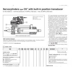 Servocylinders type CK with built-in position transducer CKP