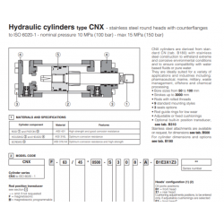 Hydraulic cylinders type CNX stainless steel round heads with counterflanges CNX