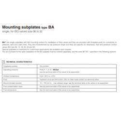 Mounting subplates type BA