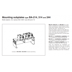 Mounting subplates type BA-214,BA-314,BA-244