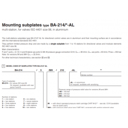 Mounting subplates type BA-214-AL