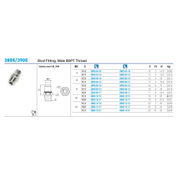 3805/3905 Stud Fitting, Male BSPT Thread