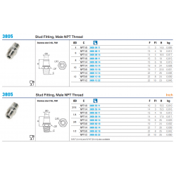 3805 Stud Fitting, Male NPT Thread