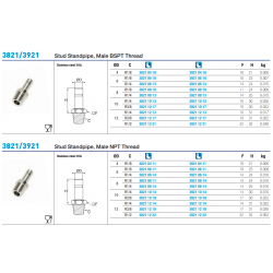 3821/3921 Stud Standpipe, Male BSPT Thread
