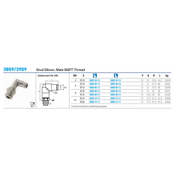 3809/3909 Stud Elbow, Male BSPT Thread