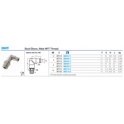3809 Stud Elbow, Male NPT Thread