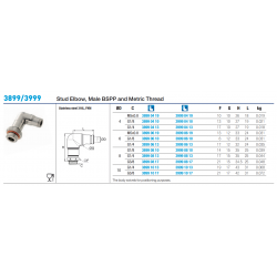 3899/3999 Stud Elbow, Male BSPP and Metric Thread