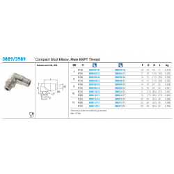3889/3989 Compact Stud Elbow, Male BSPT Thread