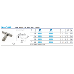 3808/3908 Stud Branch Tee, Male BSPT Thread