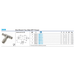 3808 Stud Branch Tee, Male NPT Thread