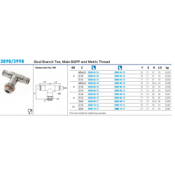 3898/3998 Stud Branch Tee, Male BSPP and Metric Thread3898/3998 Stud Branch Tee, Male BSPP and Metric Thread