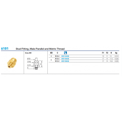 6101 Stud Fitting, Male Parallel and Metric Thread