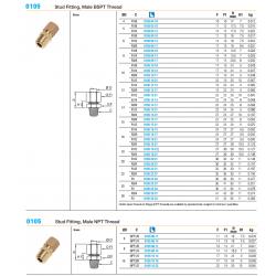 0105 Stud Fitting, Male BSPT Thread