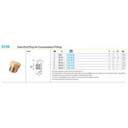 0125 Tube End Plug for Compression Fitting