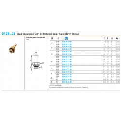 0128..39 Stud Standpipe with Bi-Material Seal, Male BSPP Thread