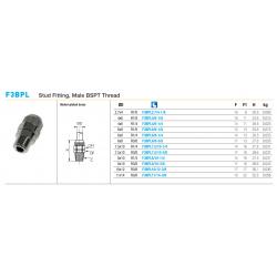F3BPL Stud Fitting, Male BSPT Thread