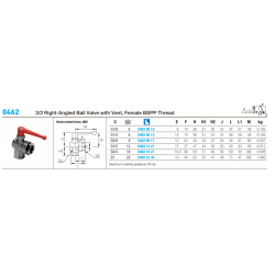 0462 3/2 Right-Angled Ball Valve with Vent, Female BSPP Thread
