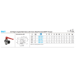 0461 3/2 Right-Angled Ball Valve with Vent, Male/Female BSPP Thread